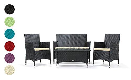 Rattan Gartenmöbel Sitzgruppe Avignon 4 teilig schwarz Stahlrahmen hochwertig handgeflochten 3 Jahre Garantie Deluxe Polyrattan Set Sofa Lounge Möbel Gartengarnitur Kissenbezüge grün