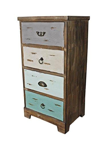elbmöbel Kommode Vintage aus Holz in Braun und Bunt Antik Landhaus Shabby-Chic Schubladen Massiv (H82 x B42 x T31)