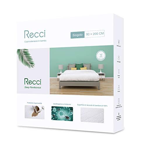 Recci coprimaterasso singolo - coprimaterasso impermeabile 90x190/200, 100% bambu copri materassi, proteggi materasso, super morbido, altamente traspirante, silenzioso [ 90x190/200 cm]