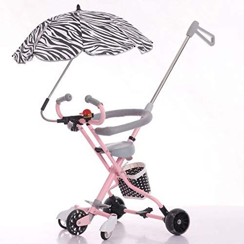 CASILE Kinder Dreirad - Kohlenstoffstahl Tragbar mit Lenkbarer Schubstange Mit Bremse Und Regenschirm,für Jungen und Mädchen ab 12 Monate -5 Jahre,Pink