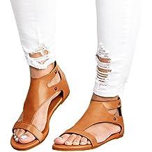 Minetom Sandalias Mujeres Bohemia Verano Planos Moda Casual Elegante Peep Toe Shoes Sandals Zapatos De Playa Romanas Retro
