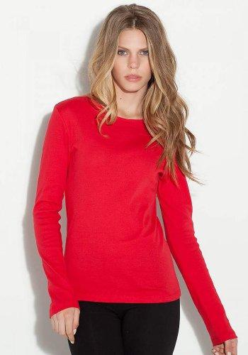 Modisches Langarm-Shirt - Farbe: White - Größe: L (Baumwolle Bella Damen Crewneck T-shirts)