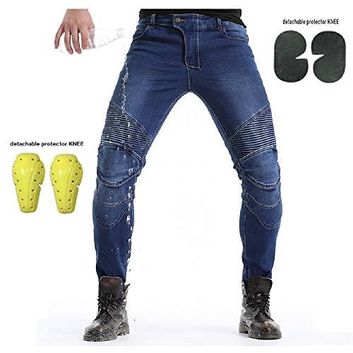 Uomo Moto Biker Jeans Pantaloni da Moto Impermeabili Rinforzato Protezione Includono Armature Motorcycle Pants (blu, XL=34 (95cm Waist))