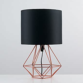 Modern Copper Metal Basket Cage Style Table Lamp With A
