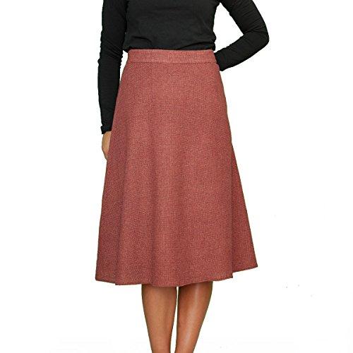 Wolle A-linie Rock (Lässiger Warme Winter Wolle Wool Rock A Linie Midi Bordeaux Melange Größe EU 36 38 40 42 44 46 48 50 (44))