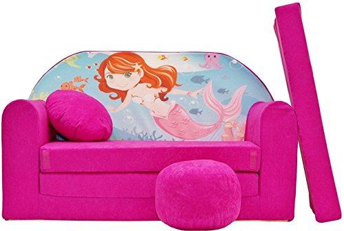 Pro Cosmo H4Kids Schlafsofa mit Puff/Fußbank/Kissen, Stoff, pink, 168x 98x 60cm