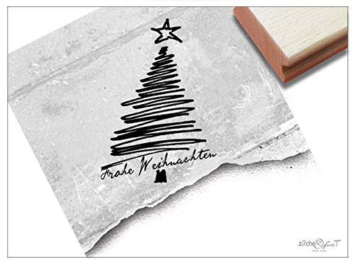 Stempel Weihnachtsstempel FROHE WEIHNACHTEN mit Baum in Linework - Textstempel Karten Geschenkanhänger Geschenk Weihnachtsdeko - zAcheR-fineT