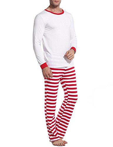 Avidlove pigiama da notte Donne Signore Set di Natale di cotone a maniche lunghe e pavimentazione striscia Uomini bianco