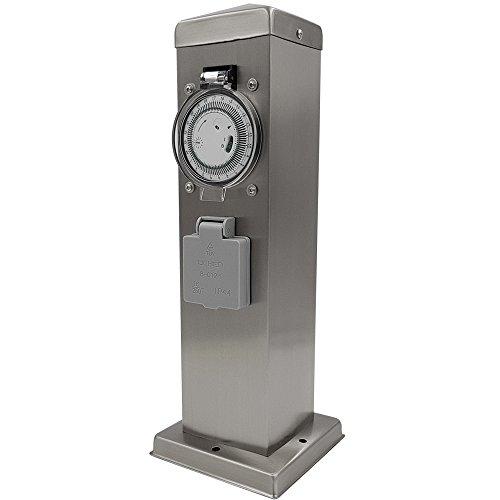 PROHEIM Steckdosensäule aus Edelstahl mit Timer und 2 Steckdosen IP44 Steckdosenleiste für Außen wetterfeste Steckdose mit integrierter Zeitschaltuhr perfekt für die Garten Stromversorgung