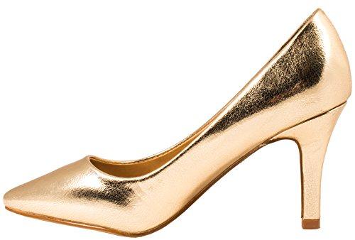 Elara Damen Pumps Spitze High Heels Stilettos Lack| chunkyrayan 1230-a-Go-37 - 2