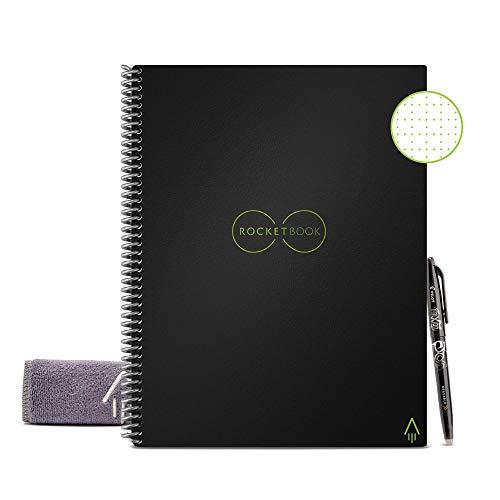 """Rocketbook Unbegrenzt Wiederverwendbares Spiralbuch - Everlast Smart A4 \""""Letter\"""" - Schwarz, Kariert, Inklusive Pilot FriXion Stift und Mikrofasertuch"""