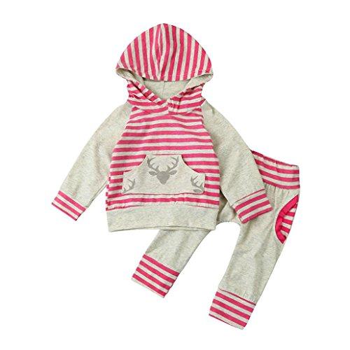 Simonabo Neugeborene baby Mädchen Jungen Kleidung Set Streifengeweih Langarmshirt Tops+ Hosen Outfit Kleider Set (12M, Grau) (Niedliche Halloween Outfits Frauen)