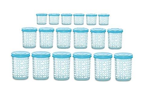 Milton Storex Plastic Container with Spoon 18 Pc Set – 6 X 500 ML, 6 X 750 ML , 6 X 1000 ML