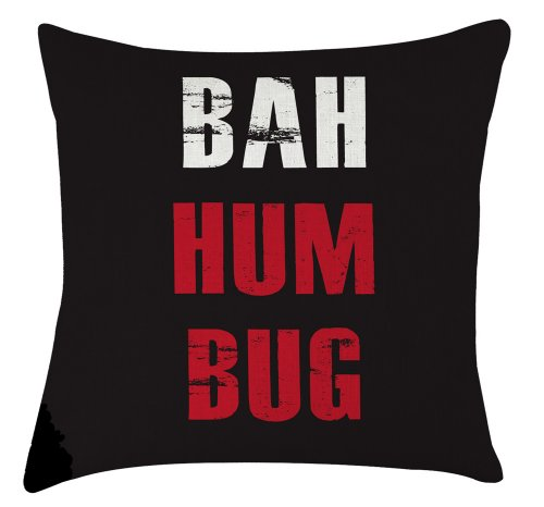Bah Humbug christmas quote quirky funny printed cushion by Artylicious