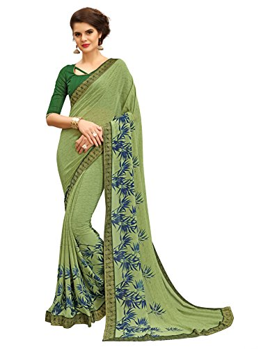 TAGLINE Women's Georgette Saree With Blouse Piece (Green)18155