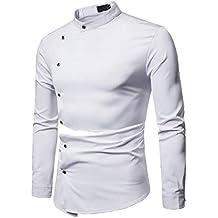 Camisas De Hombre Blancas,Modaworld Camisa De Manga Larga Modelo Oxford Tallas Grandes para Hombre