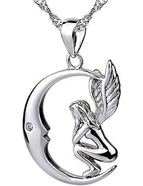 Sojewe Damen 925er Sterling Silber Engel Mond Halsketten Einlege Zirkonia Anhänger Weiß Vergoldet Ketten