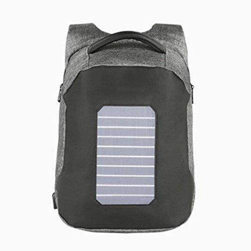 WYXIN Mode-Männer-Anti-Diebstahl-Rucksäcke USB Design Solar-Gebühr 15,6 Zoll Laptop Business Rucksack wasserdichte Reisetasche , gray (20-fuß-handy-ladegerät)