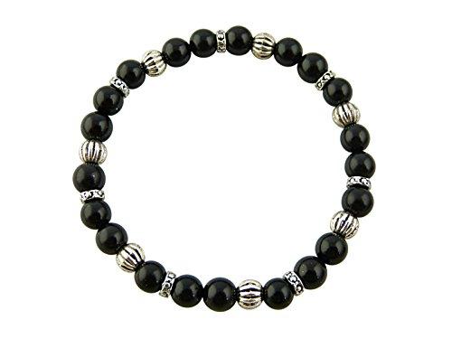 Sunsara Traumsteinshop Edelstein Sternzeichen Armband - Steinbock, Turmalin, mit silberfarbenen Tibet Perlen, Heilsteinarmband, Stretcharmband 8102
