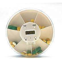 Settimanale portapillole portapillole da 7 giorni con erogatore di pillole con promemoria di allarme portapillole da viaggio portatile con timer digitale a LED 7 scomparti grandi per integratori