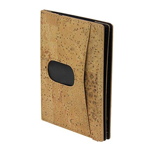 Bricraft Men Rfid Multi Slots titular de la tarjeta monedero elástico bolsillo frontal billetera de corcho marrón claro