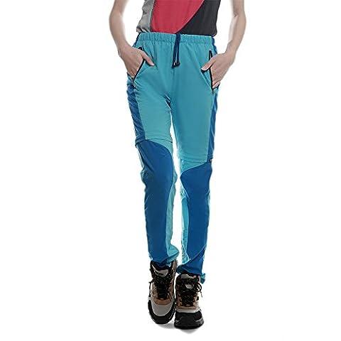 Lanbaosi Pantalon de Randonnée convertible Femme Pantalons Extérieure Imperméable Léger à Séchage Rapide Montages Couleurs Azur XXL/FR 40
