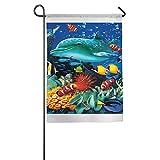 Dozili Flagge Unterwasserwelt Heimdeko Garten Flagge wetterfest & doppelseitig Hofflagge, Polyester, bunt, 28