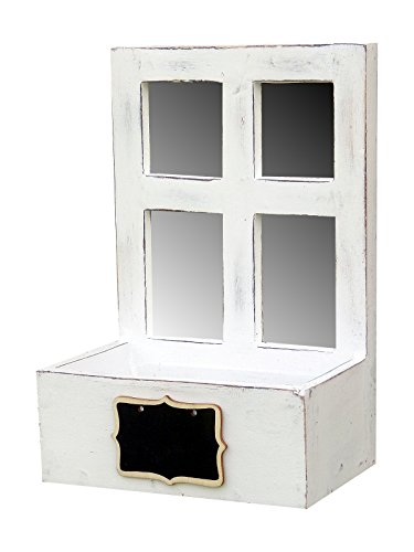 amadeco Wunderschönes kleines Spiegelfenster zum Bepflanzen - Sprossenfenster - Holzfenster - mit kleiner Tafel - Spiegel - Hinstellen oder Aufhängen - Landhaus