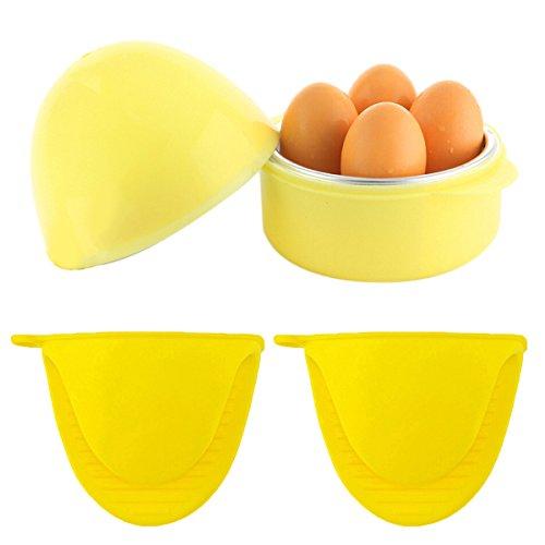 Bangcool Eierkocher Easy 4 Eier Microwelle Boiler Rapid Egg Kochen Geräte (Yellow+2 gloves)
