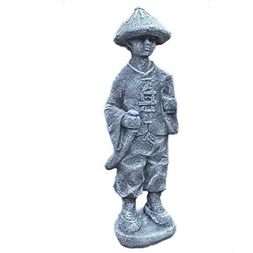 Steinfigur Samurai Krieger Chinese Buddha Wächter Steinguss Gartenfigur Frostfest 50 cm