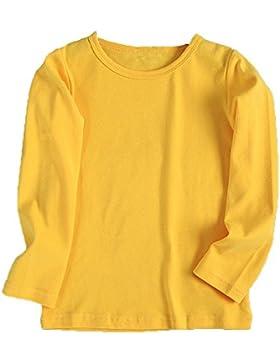 Topgrowth Bambino Maglietta Maniche Lunghe Ragazzo Ragazza Collare Rotondo T-shirt Cotone Tinta Unitar Vestiti