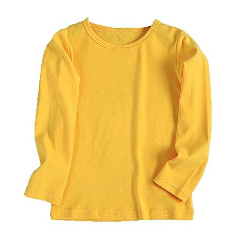 Kinderkleid Honestyi Baby Nette Jungen Mädchen Runder Kragen Lange Hülsen Oberseiten Süßigkeits Clour Familien Kleidung (Gelb,100)