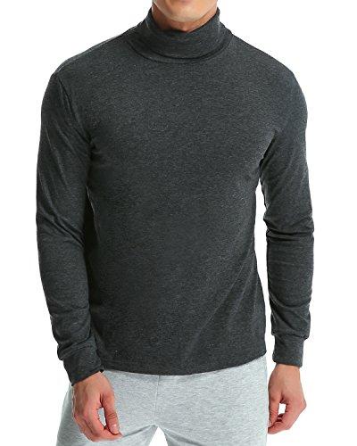 MODCHOK Turtleneck Shirt, Herren Langarmshirt Rollkragenshirt Ringelshirt Rollkragenpullover Longsleeve Slim Fit Einfarbig Dunkelgrau XL