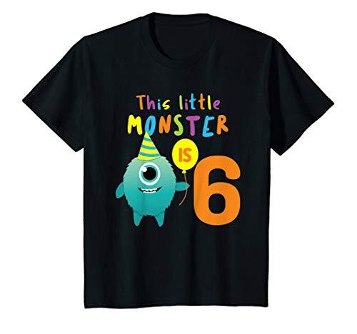 Kinder Kleines Monster 6 Jahre! Bday Halloween Shirt Geschenk Sechs