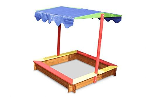 schöner Sandkasten aus Holz mit farbigen Sitzbrettern und Dach B118 x T118 x H120 cm
