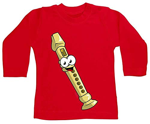 HARIZ Baby Shirt Langarm Flöte Lachend Instrument Kind Witizg Inkl. Geschenk Karte Feuerwehr Rot 3-6 Monate (Flöte Instrument Kostüm)