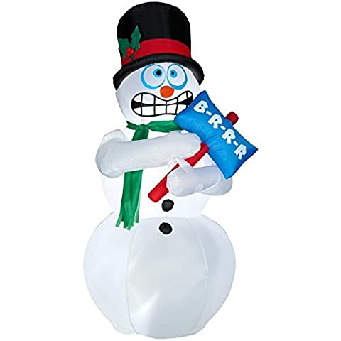 Snowman Gonflable - 6 Foot Airblown animé gonflable Shivering Snowman
