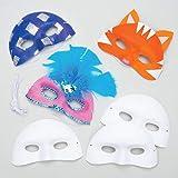Masken aus Plastik zum Basteln und Bemalen - Karnevalsmasken - für Kinder ideal zum Kindergeburtstag und Karneval - 8 Stück