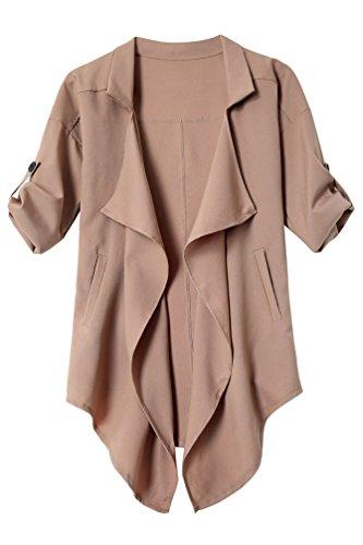 YiLianDa-Donna-34-Corto-Manica-Aperto-Davanti-Colletto-Cappotto-Casual-Giacca-Blazer