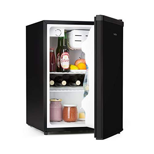 Klarstein Cool Kid Getränkekühlschrank - Mini-Kühlschrank, Mini-Bar, 66 Liter Volumen, Energieeffizienzklasse A+, 109 kWh/Jahr, freistehend, 45 x 63 x 51 cm (BxHxT), 42db, Edelstahl, schwarz