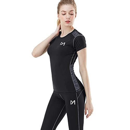 MEETYOO Kompressionsshirt Damen, Sport Leggings Kompressionshose Lang Running Tights Atmungsaktiv Kurzarm T-Shirt für Laufen Radfahren Yoga Gym