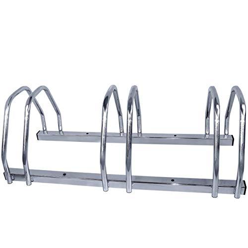 Walter Fahrradständer 3-Fach, Für 3 Fahrräder, Boden- oder Wandmontage, Mehrfachständer, beidseitig verwendbar, Metall, Silber -