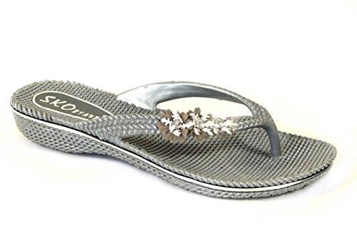 Damen Blume Pantoletten Flach Sommer Sandalen Flip Flops Strand Jelly Schuhe Größe Grey (630)
