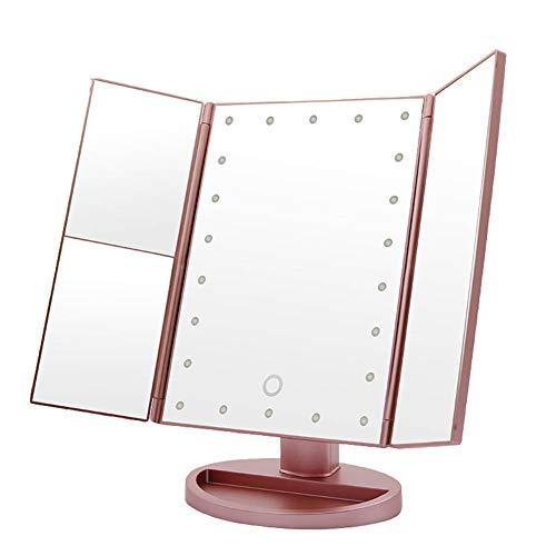 UGLANCE Espejo de Maquillaje, Espejo de Aumento Plegable de Pantalla Dividida HD, Espejo de Pantalla...