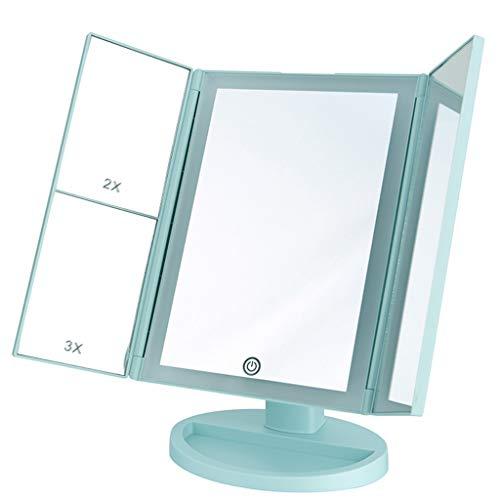 Miroirs Salle de bain cosmétiques muraux Miroir de vanité à trois volets avec lampes à LED Miroir de maquillage éclairé avec grossissements 2x et 3x - Miroir de table à poser à écran tactile avec écla