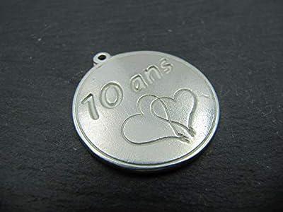 Médaille en étain 30mm - 10 ans noces d'étain
