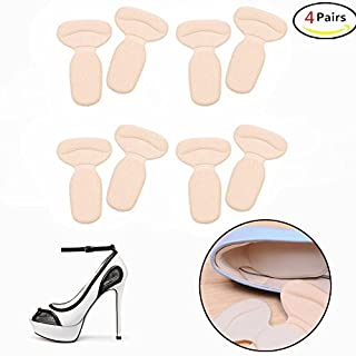 DWE 4 Pairs Heel Grips, Extra Strong Heel Stickers Shoe Heel Snugs Inserts Insoles Pads Foot Care Protector For Women Girls (Beige)