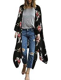 bb6b6869d6 Yuan Fashion Womens Cover Up Blouse,Ladies Chiffon Shawl Print Kimono  Cardigan Top Beachwear