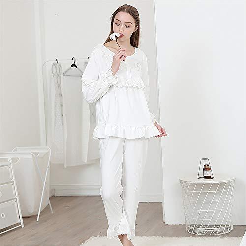 Zavddy-Clothing Damen Schlafanzug Damen Pyjamas Hose Set 2 Stück weiche Baumwolle Nachtwäsche Nachthemd für den Schlaf Frauen (Farbe : Weiß) (Baumwolle Gebürstete Pyjama Hose)