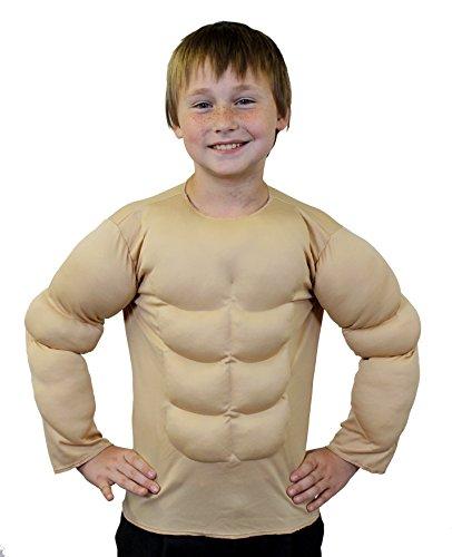 Déguisement d'homme fort ou de super héro avec ce torse musclé beige pour enfant. Idéal pour les enterrements de vie de garçon. ( XLarge - 11/14ans )